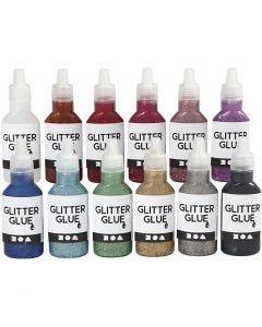 Glitzerkleber, Sortierte Farben, 12x25 ml/ 1 Pck.