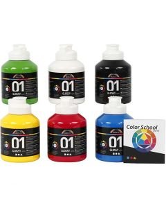 A-Color Acrylfarbe , Glänzend, Primärfarben, 6x500 ml/ 1 Pck.