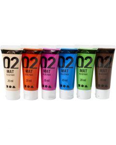 A-Color Acrylfarbe, Matt, Zusätzliche Farben, 6x20 ml/ 1 Pck.