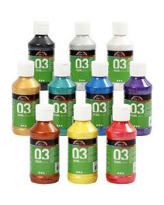 A-Color Acrylfarbe, Metallisch , Sortierte Farben, 10x120 ml/ 1 Pck.