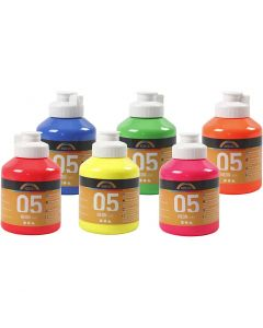 A-Color Acrylfarbe, Nr. 05, Neonfarben, 6x500 ml/ 1 Box