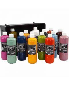 Textilfarbe, Sortierte Farben, 15x500 ml/ 1 Pck.