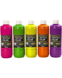Textilfarbe, Sortierte Farben, 5x500 ml/ 1 Pck.
