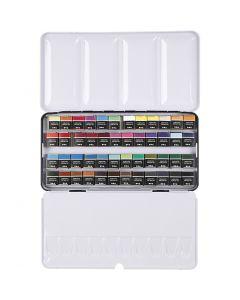 Art Aqua Aquarellfarbe, Halbwannen, Größe 10x20 mm, Sortierte Farben, 48 Farbe/ 1 Pck.