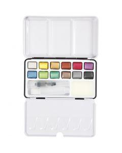 Art Aqua Aquarellfarbe, Größe 10x15 mm, Metallic-Farben, 12 Farbe/ 1 Pck.