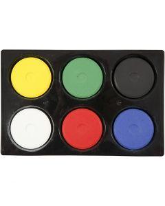 Wasserfarben im Set, H: 16 mm, D: 44 mm, Primärfarben, 1 Set