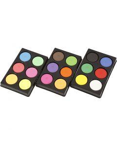 Wasserfarben im Set, H: 16 mm, D: 44 mm, Neonfarben, Zusätzliche Farben, 1 Set