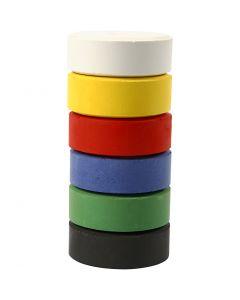 Wasserfarben im Set, H: 16 mm, D: 44 mm, Primärfarben, 6 Stck./ 1 Pck.