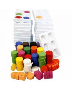Wasserfarben im Set, H: 16 mm, D: 44 mm, Sortierte Farben, 1 Set