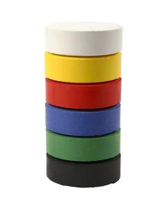 Wasserfarben im Set, H: 19 mm, D: 57 mm, Primärfarben, 6 Stck./ 1 Pck.
