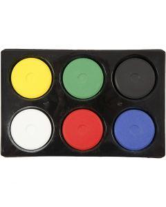 Wasserfarben im Set, H: 19 mm, D: 57 mm, Primärfarben, 1 Set