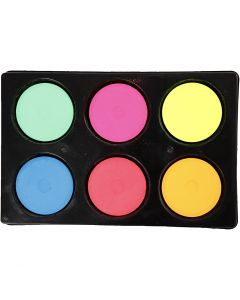 Wasserfarben im Set, H: 16 mm, D: 44 mm, Neonfarben, 1 Set