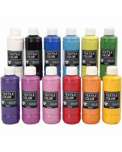 Textile Solid, Deckend, Sortierte Farben, 12x250 ml/ 1 Pck.