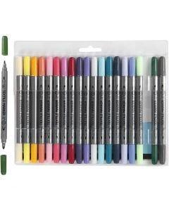 Stoffmalstifte, Strichstärke 2,3+3,6 mm, Zusätzliche Farben, 20 Stck./ 1 Pck.