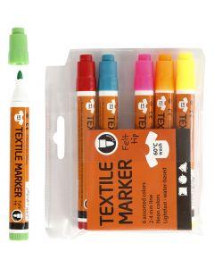 Stoffmalstifte, Strichstärke 2-4 mm, Neonfarben, 6 Stck./ 1 Pck.