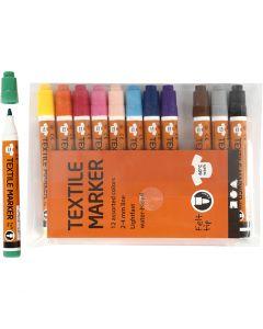Stoffmalstifte, Strichstärke 2-4 mm, Sortierte Farben, 12 Stck./ 1 Pck.