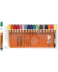 Stoffmalstifte, Strichstärke 2-4 mm, Sortierte Farben, 18 Stck./ 1 Pck.