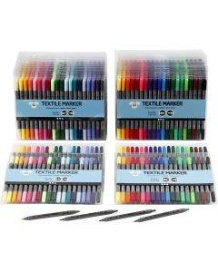 Stoffmalstifte, Strichstärke 2,3+3,6 mm, Standard-Farben, Zusätzliche Farben, 24x20 Stck./ 1 Pck.