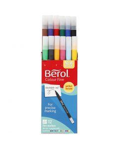 Berol Colourfine, D: 10 mm, Strichstärke 0,3-0,7 mm, Sortierte Farben, 12 Stck./ 1 Pck.