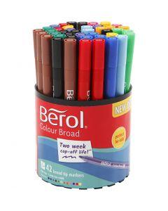 Berol Colourfine, D: 10 mm, Strichstärke 0,3-0,7 mm, Sortierte Farben, 42 Stck./ 1 Dose