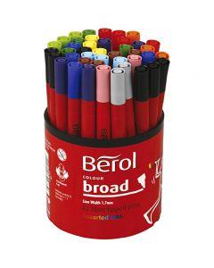 Berol Marker, D: 10 mm, Strichstärke 1-1,7 mm, Sortierte Farben, 42 Stck./ 1 Dose