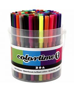 Colortime Filzstifte, Strichstärke 2 mm, Sortierte Farben, 100 Stck./ 1 Eimer