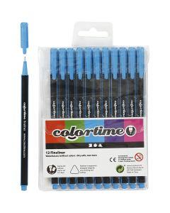 Colortime Fineliner, Strichstärke 0,6-0,7 mm, Hellblau, 12 Stck./ 1 Pck.