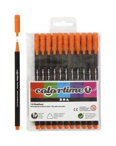 Colortime Fineliner, Strichstärke 0,6-0,7 mm, Orange, 12 Stck./ 1 Pck.