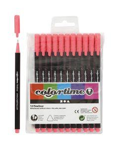 Colortime Fineliner, Strichstärke 0,6-0,7 mm, Pink, 12 Stck./ 1 Pck.