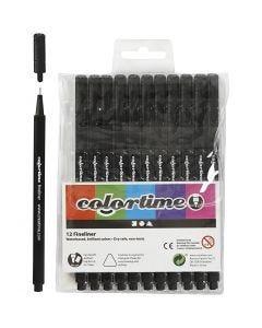 Colortime Fineliner, Strichstärke 0,6-0,7 mm, Schwarz, 12 Stck./ 1 Pck.