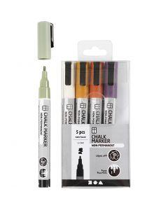 Kreide-Marker, Strichstärke 1,2-3 mm, Pastellfarben, 5 Stck./ 1 Pck.