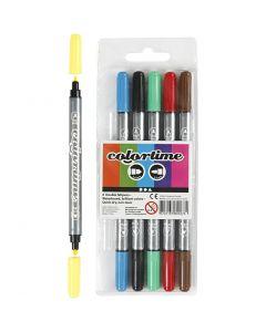 Colortime Dual-Filzstifte, Strichstärke 2,3+3,6 mm, Standard-Farben, 6 Stck./ 1 Pck.