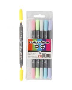 Colortime Dual-Filzstifte, Strichstärke 2,3+3,6 mm, Pastellfarben, 6 Stck./ 1 Pck.