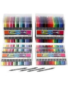Colortime Dual-Filzstifte, Strichstärke 2,3+3,6 mm, Standard-Farben, Zusätzliche Farben, 24 Pck./ 1 Pck.
