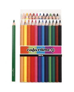 Colortime Buntstifte, L: 17,45 cm, Mine 5 mm, JUMBO, Sortierte Farben, 12 Stck./ 1 Pck.
