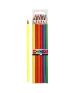 Colortime Buntstifte, L: 17,45 cm, Mine 3 mm, Neonfarben, 6 Stck./ 1 Pck.