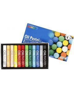 Mungyo Ölpastellfarben, L: 7 cm, Stärke: 11 mm, Sortierte Farben, 12 Stck./ 1 Pck.