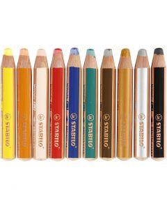 Woody 3-in-1 Buntstifte, L: 11 cm, Stärke: 16 mm, Mine 10 mm, Sortierte Farben, 10 Stck./ 1 Pck.