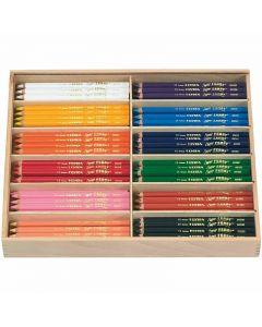 Super Ferby 1 Buntstifte, L: 18 cm, Mine 3 mm, Sortierte Farben, 12x12 Stck./ 1 Pck.