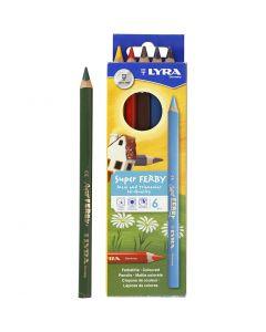 Super Ferby 1 Buntstifte, L: 18 cm, Mine 3 mm, Sortierte Farben, 6 sort./ 1 Pck.