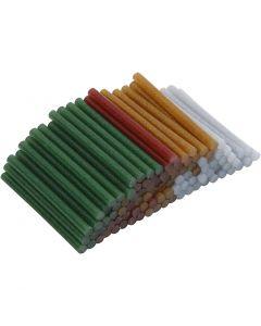 Heißkleber-Sticks, L: 10 cm, D: 7 mm, Glitter, Gold, Grün, Rot, Silber, 100 Stck./ 1 Pck.