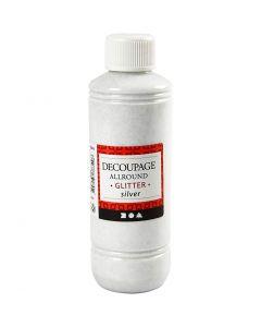 Découpage-Lack, Glitter, Silber, 250 ml/ 1 Fl.