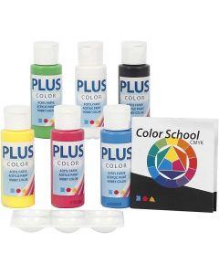 Plus Color Bastelfarbe, Primärfarben, 6x60 ml/ 1 Pck.