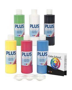 Plus Color Bastelfarbe, Primärfarben, 6x250 ml/ 1 Pck.