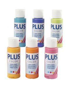Plus Color Bastelfarbe, Sort. Farben, 6x60 ml/ 1 Pck.