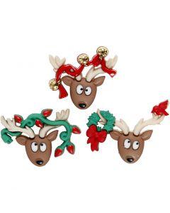 Figuren-Knöpfe, Oh Deer!, H: 23-25 mm, B: 28-34 mm, 3 Stck./ 1 Pck.