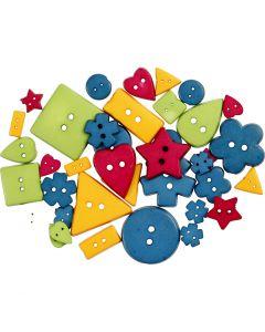 Knöpfe, D: 8-18 mm, Lochgröße 2 mm, Kräftige Farben, 37 Stck./ 1 Pck.