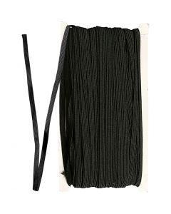 Elastikschnur, B: 6 mm, Schwarz, 50 m/ 1 Rolle