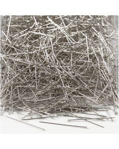 Stecknadeln, L: 30 mm, Stärke: 0,55 mm, Silber, 500 g/ 1 Pck.