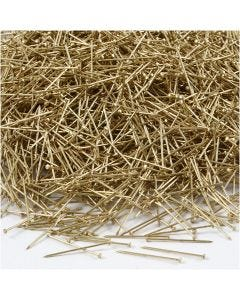 Stecknadeln, L: 18 mm, Stärke: 0,6 mm, Gold, 500 g/ 1 Pck.
